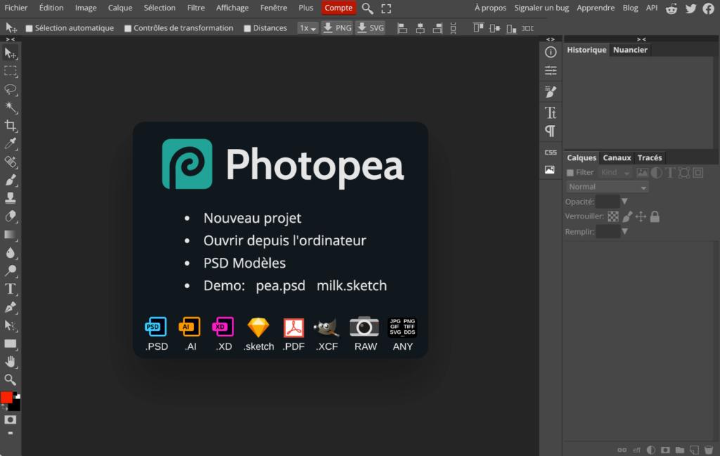 Accueil du logiciel en ligne Photopea