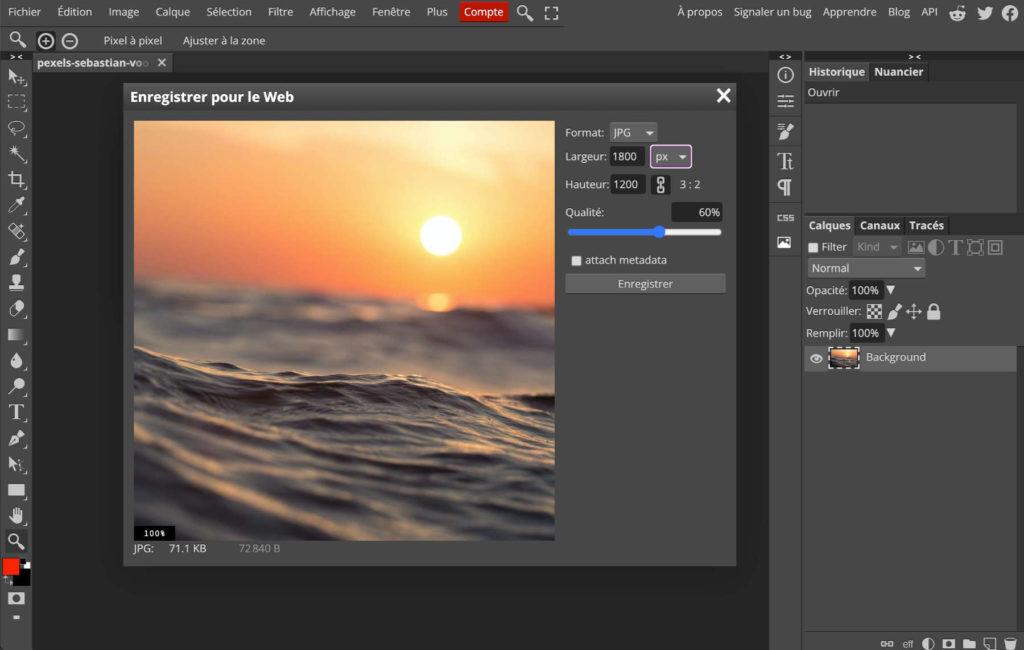 Export de l'image sur Photopea