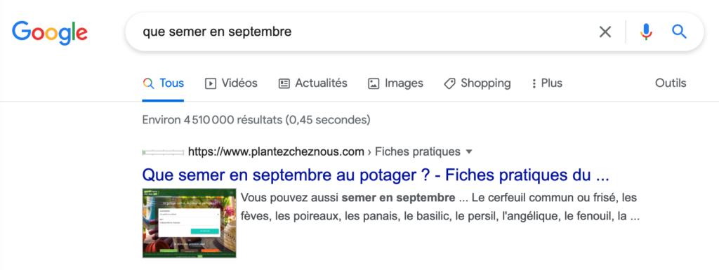 """Référencement du site Plantez Chez Nous sur """"que semer en septembre"""""""